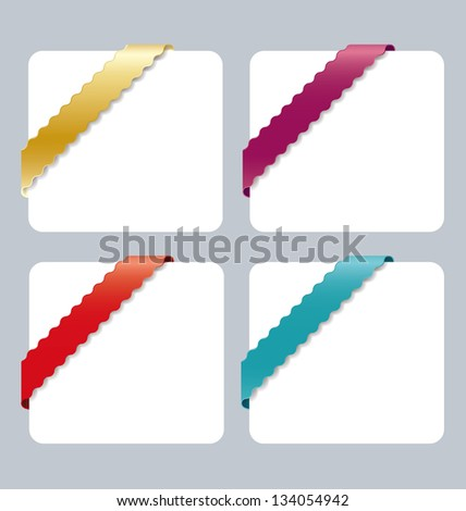 Set of various colorful corner  ribbons - stock vector