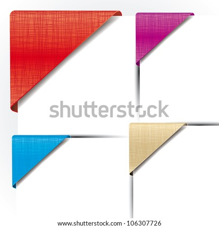 Set of various colorful corner  textile ribbons - stock vector