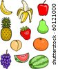 Set of various colorful fruit. - stock vector