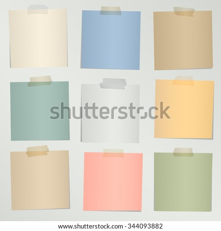 Set of various colorful note papers with adhesive tape on gray background - stock vector