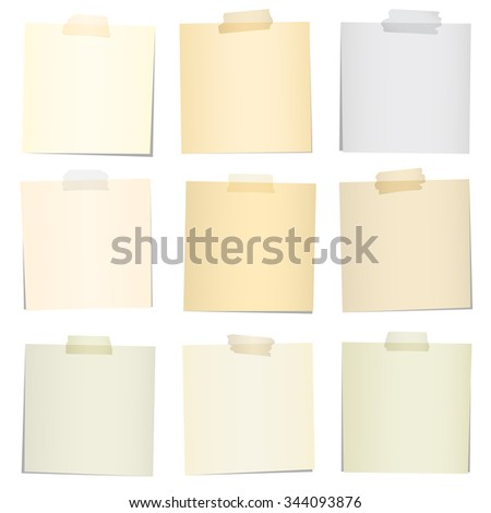 Set of various colorful note papers with adhesive tape on white background - stock vector