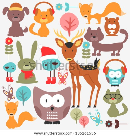 Set of various cute animals - stock vector