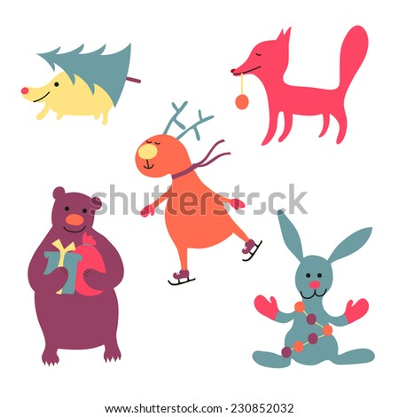 set of various cute Christmas animals  - stock vector