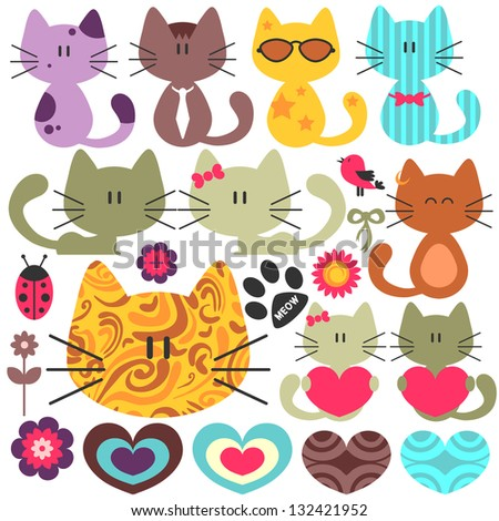 Set of various cute kittens - stock vector