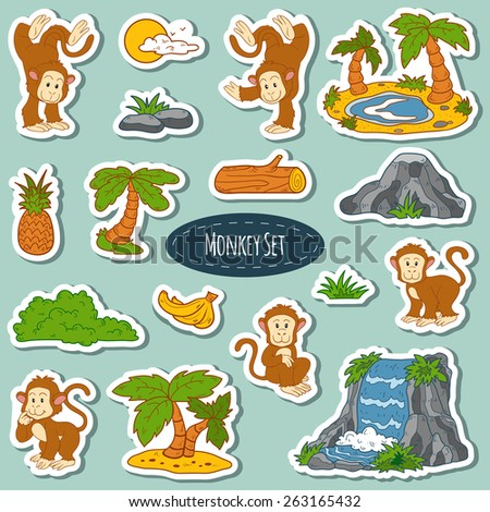 Set of various cute monkey, vector stickers of animals and items of nature - stock vector