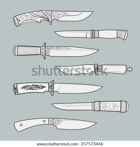 Set of various design hunting, combat and decorative bladed vector knives isolated on blue background. Detailed graphic symbols and elements collection