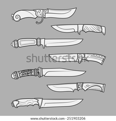 Set of various design hunting, combat and decorative bladed vector knives isolated on grey background. Detailed graphic symbols and elements collection