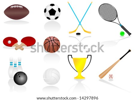 Set of various, detailed sport elements - stock vector