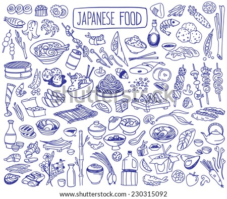 Set of various doodles, hand drawn rough simple Japanese cuisine food sketches.  - stock vector