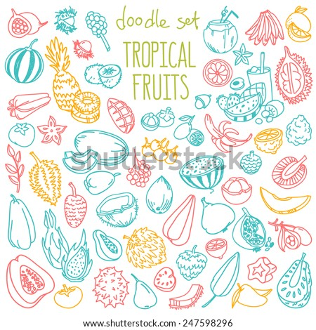 Set of various doodles, hand drawn rough simple sketches of different kinds of tropical fruits. Vector freehand illustration isolated on white background. - stock vector