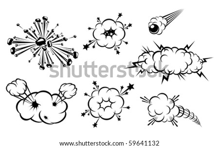 Set of various explosions isolated on white. Jpeg version also available in gallery - stock vector