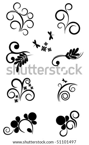 Set of various floral elements for Your design - stock vector