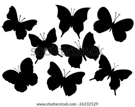 set of various flying butterflies vector illustration - stock vector