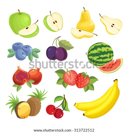 Set of various fruit and berry. Strawberry, blueberry, cherry, plum, watermelon, pear, apple, pineapple, banana and cherry