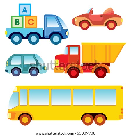 Set of various funny toy cars - vector illustration - stock vector