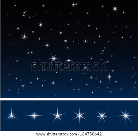Set of various glittering stars, dark night sky with stars - stock vector