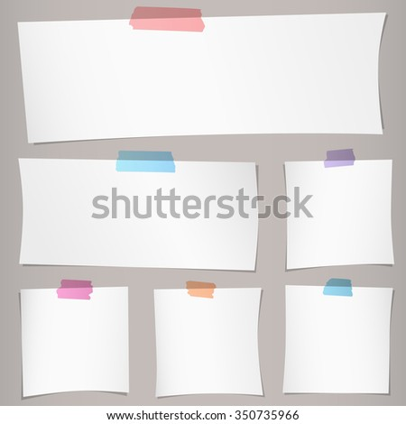 Set of various gray note papers with colorful adhesive tape on brown background - stock vector