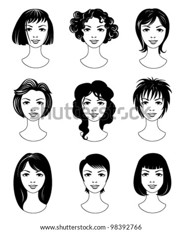 Set of various haircuts - stock vector