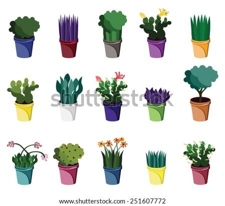 Set of various houseplants - stock vector
