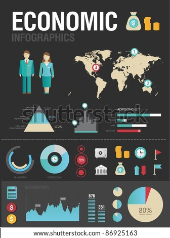 Set of various icons and charts for business reports - stock vector