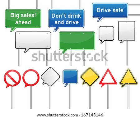 set of various isolated speech bubble traffic signs. vector. - stock vector