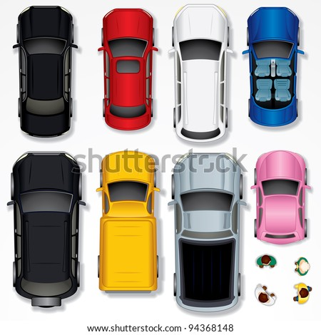 Set of Various Isolated Vector Cars, Top View Position - stock vector