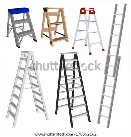 Set of various ladders on the white background - stock vector
