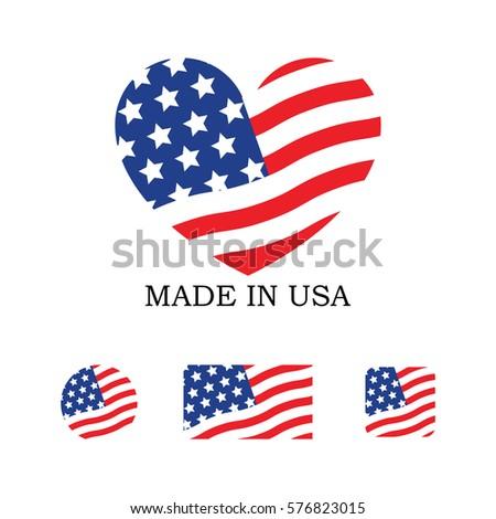 Set Various Made Usa Symbols Stock Vector 576823015 Shutterstock