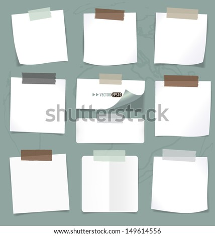 Set of various note papers, ready for your message. Vector EPS10 - stock vector