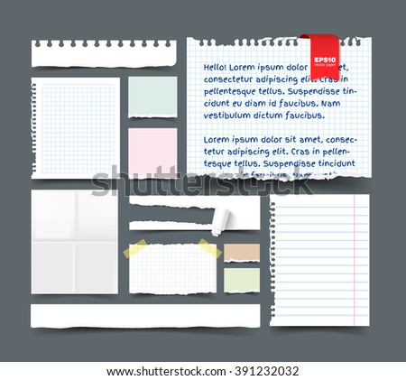 Set of various paper sheets and pieces. White folded page, sqared and lined notepaper, paper banner with hole and paper roll, torn paper with ripped edges, ragged pages, scotch tape, paper clip.  - stock vector