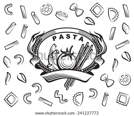set of various pasta elements - stock vector