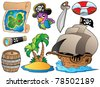 Set of various pirate objects - vector illustration. - stock vector