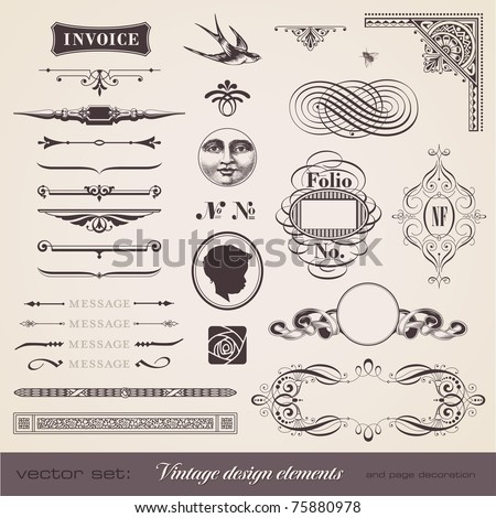 set of various playful retro design elements - stock vector