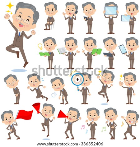 Set of various poses of Double suit beard old man 2 - stock vector