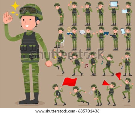 Set of various poses of flat type military wear man_2