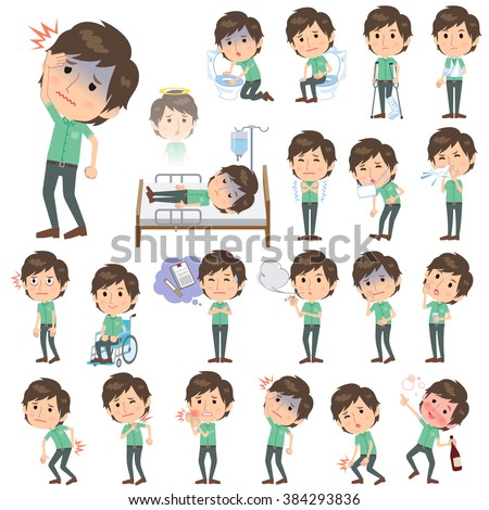 Set of various poses of Green short sleeved shirt Men About the sickness