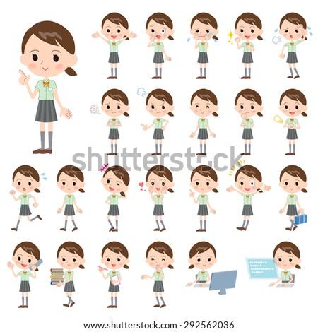 Set of various poses of schoolgirl Green short sleeved shirt - stock vector