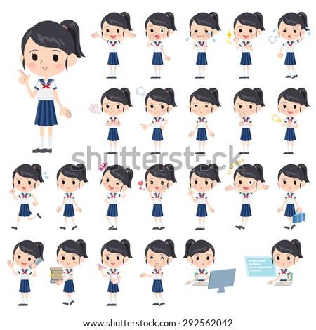 Set of various poses of schoolgirl short sleeved shirt Sailor suit - stock vector