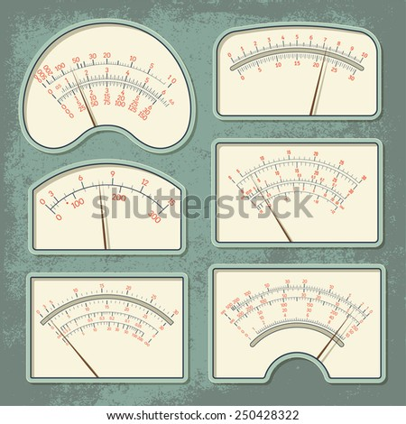 Set of various retro design vector panels and dashboards of measuring devices isolated on green aged scratched background
