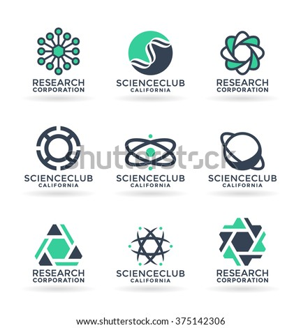 Set of various science symbols and logo design elements (7) - stock vector
