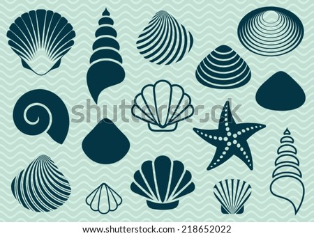 Set of various sea shells and starfish silhouettes - stock vector