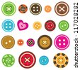 set of various sewing buttons on white background - stock photo