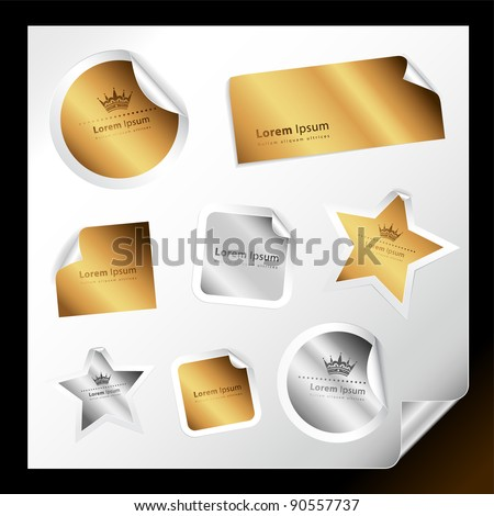 Set of various silver and gold stickers for your text - stock vector