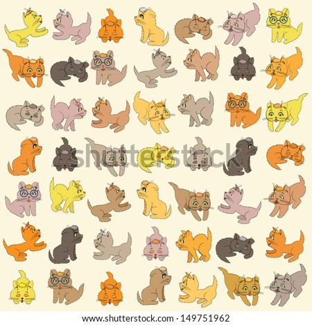 Set of various small colored cartoon kittens, editable vector illustration