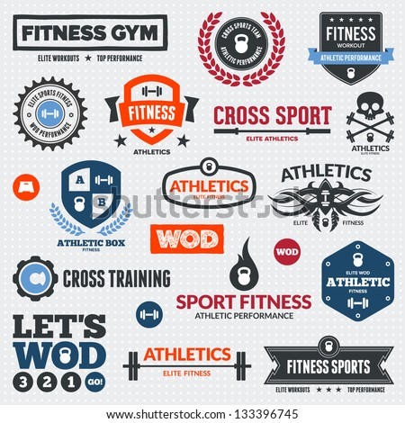 Set Of Various Sports And Fitness Logo Graphics Icons