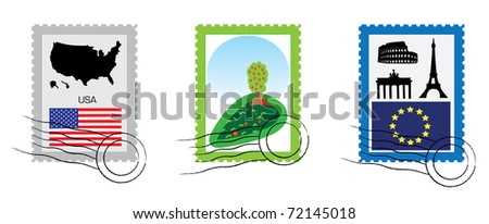 Set of various stamp from USA, EU and one with nature motive.