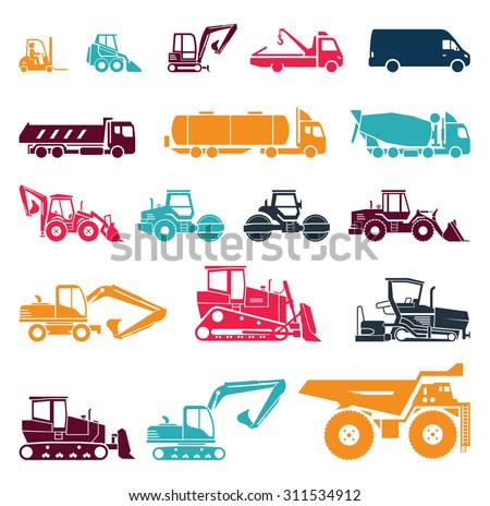 Set of various transportation and construction machinery. Heavy equipment. Collection of heavy trucks. Heavy-duty vehicles, designed for executing construction tasks and earthwork operations.  - stock vector