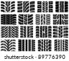 Set of various tyre treads - stock photo