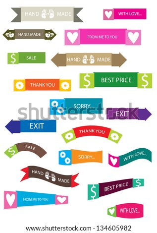 set of various vector labels with simple icons and text - stock vector