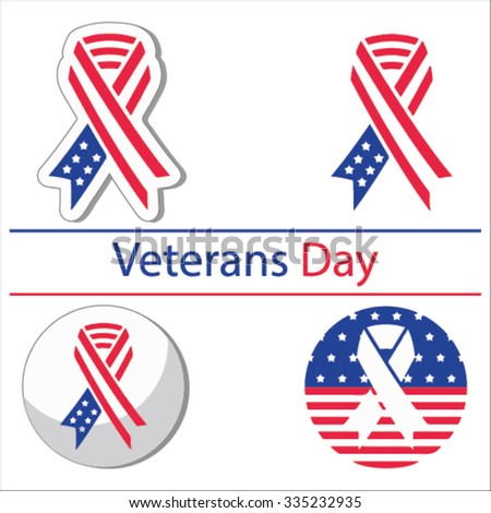 Set Various Veterans Day Graphics Objects Stock Vector 2018